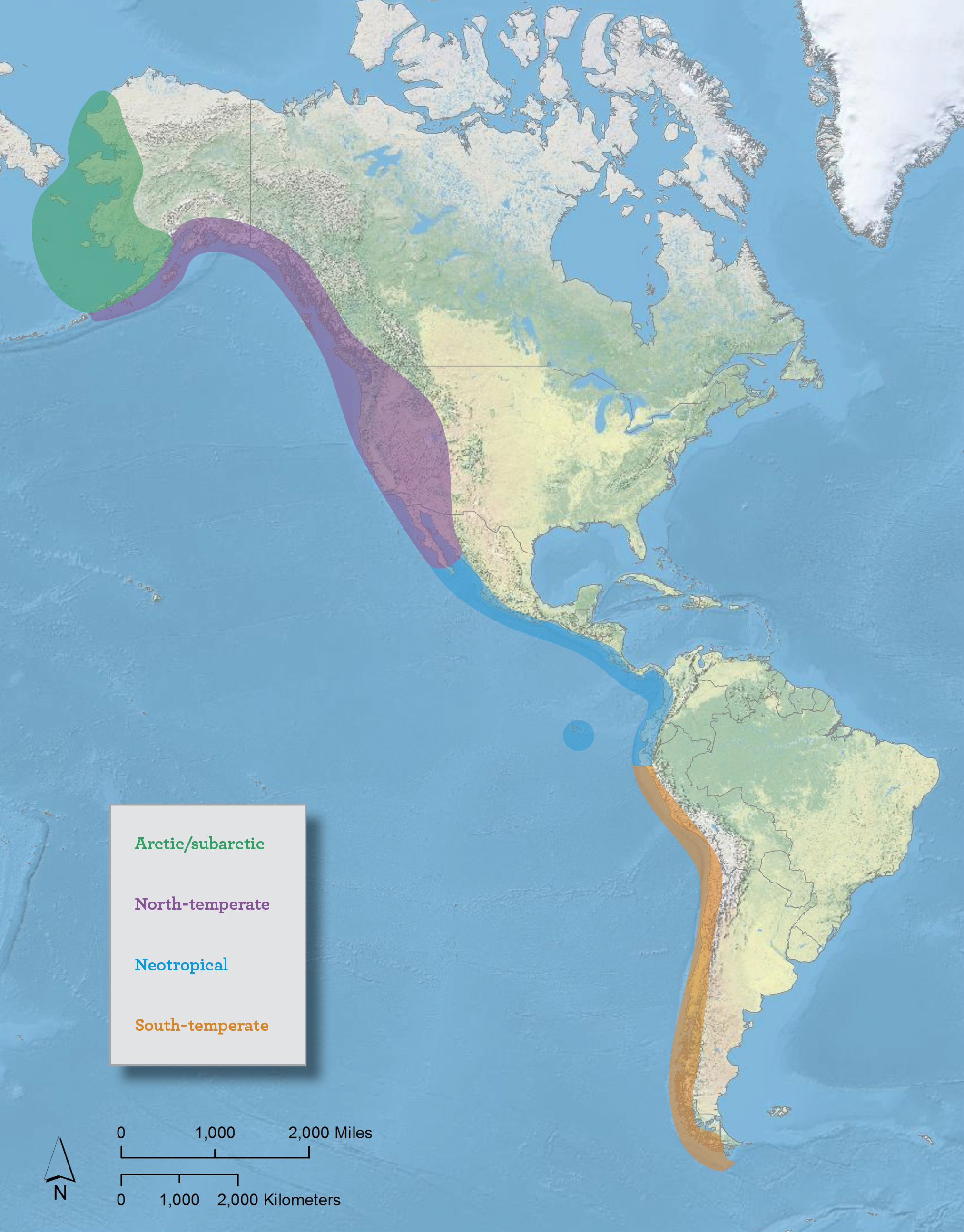 Pacific Americas Shorebird Conservation Strategy project area and focal geographic regions.