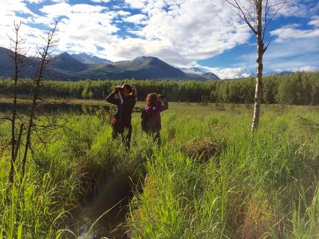 McKenna Hanson (left) and Lindsay Hermanns (right) surveying Basher Lakes in Anchorage, 2014.